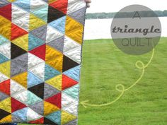 a triangle quilt by her threaded needle