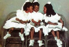 black art in america | ... size 36x24 three young african american girls attend sunday school at