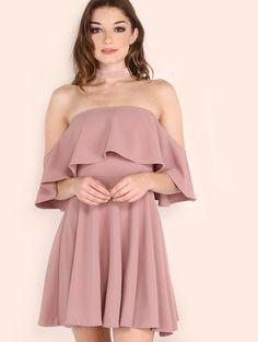 Off The Shoulder Skater Dress PINK | MakeMeChic.COM