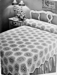 INSTANT DOWNLOAD PDF Beautiful Heirloom Lace Crocheted Victorian Nosegay Bedspread Vintage Crochet Pattern 2 Sizes