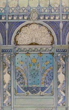 Art Nouveau Émile Hurtré design - - Wall Decoration with Peacock, Cranes, and Sunflowers for the Restaurant in Hotel Langham in Paris - The Metropolitan Museum of Art Design Art Nouveau, Art Design, Door Design, Interior Design, Art Nouveau Pintura, Pinturas Art Deco, Architecture Art Nouveau, Jugendstil Design, Blue Lantern