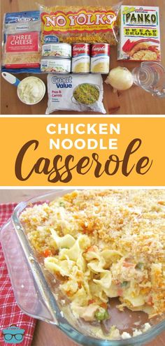 This Easy Chicken Noodle Casserole is made with egg noodles, chicken breast, a creamy, tasty filling and topped with buttered bread crumbs!