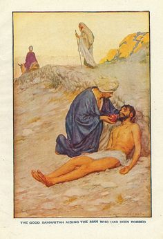 "Vintage religious art ""The good samaritan aiding the man who had been robbed"" signed W. H. Margetson"