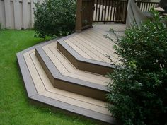 Two tone, cascading deck steps make a fantastic design for a smaller backyard project | Quaker State Construction