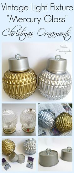 Create stunning oversized vintage Mercury Glass Christmas ornaments with a salvaged light fixture and small tin can! The mercury glass effect is easy in these vintage glass globe lights, giving them a Shiny Brite look. Fun repurpose / upcycle Christmas DIY project for your front porch, steps, or yard this holiday season. #SadieSeasongoods / www.sadieseasongoods.com