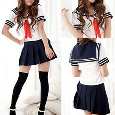 Modern Cosplay Japanese School Girl Students Sailor Uniform Sexy Anime... ❤ liked on Polyvore featuring costumes, sailor costume, sexy sailor halloween costume, role play costumes, sexy animal costumes and school girl