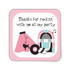 50S Rock And Roll Decorations   50s_rock_and_roll_party_thank_you_sticker-p217492657210576377bah05_400 ...