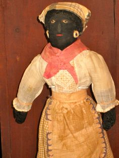 Black lady rag doll with nose