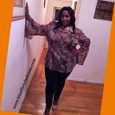 Plus Size Semi Sheer Top w/ Renaissance Sleeves by Ashley Stewart #AshleyStewart #ButtonDownShirt #ANY