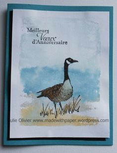 handmade card ... wetlands goose ... luv the inking technique used for the background ... Color Block E (?) ... markers put color directly on acrylic block, sprayed with water, stamped on watercolor/absorbent paper  and dried before further stamping ... great watercolor look ... Stampin' Up!