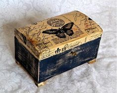 Jewerly Box Decoupage Design 20 Ideas For 2019 Painted Boxes, Wooden Boxes, Hand Painted, Altered Boxes, Cigar Box Projects, Decoupage Box, Vintage Box, Box Design, Gift Boxes