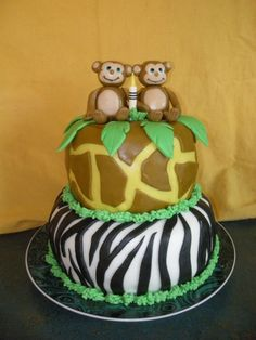 Jungle Twin Birthday Cake By labjac on CakeCentral.com