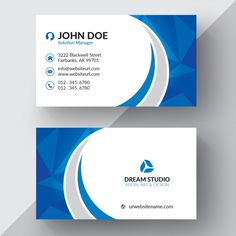 Blue and white business card Premium Vector Company Business Cards, Business Cards Layout, Free Business Card Templates, Free Business Cards, Modern Business Cards, Business Card Design, Print Templates, Visiting Card Design, Bussiness Card