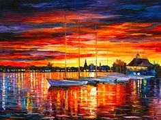 0447  Helsinki Sailboats At Yacht Club Print by Leonid Afremov