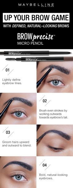 Get define, natural looking brows using the Maybelline Brow Precise Micro Pencil. First, lightly define the eyebrow lines with the micro find tip. Next, brush even strokes by working outwards towards the eyebrow's tail. Then, groom hairs upwards and out Eyebrow Beauty, Eyebrow Makeup, Skin Makeup, Makeup Brush, Makeup Remover, Love Makeup, Makeup Tips, Makeup Looks, Makeup Set