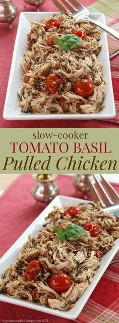 Slow Cooker Tomato Basil Pulled Chicken - a simple, fresh, and healthy dinner recipe from your crock pot. Gluten free, low carb, and paleo.