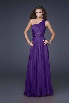 One Shoulder Purple Long Beaded Waist Prom Dress