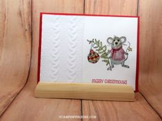 Stampin' Up! CAS Christmas card made with Merry Mice stamp set and designed by…
