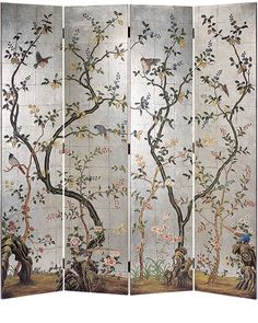 folding screens - decorative silver leaf folding screen with hand painted flowers and blossoming trees