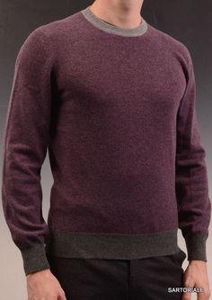 BRUNELLO CUCINELLI Purple Cashmere Crewneck Sweater NEW