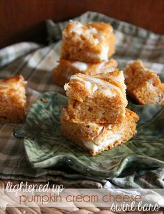 LIghtened Up Pumpkin Cream Cheese Swirl Bars They start with a box of Angel Food Cake Mix! Only a few ingredients and you've got a great pumpkin treat!
