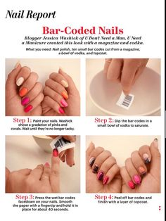 Bar Code Nails-Wonder if it would work with rubbing alcohol like the newspaper mani...No vodka here!