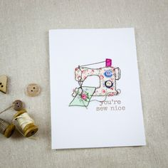 Lovely sewing themed cards from scraps and freemotion embroidery - very sweet as framed gifts!