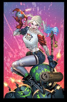 Heroes and Villains, Harley Quinn by Ken Lashley * Der Joker, Harley Quinn Comic, Joker And Harley Quinn, Comic Book Characters, Comic Books Art, Comic Art, Heros Film, Spiderman, Batman Art
