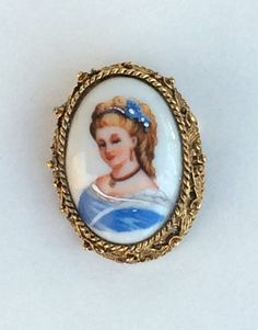 Limoges Porcelain Portrait Brooch Victorian by WhirleyShirley
