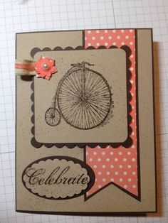 handmade card ... SU Spring catalog favorite by Rozski ... kraft base card ... dark brown ink and mat lyers ... pops of peachy pink in small punched flower and polka dot fishtail banner ... old fashioned bike image ... good three element design ... Stampin' Up!