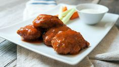 Use your leftover or rotisserie chicken in this easy recipe for boneless buffalo wings. Wing Recipes, Meat Recipes, Chicken Recipes, Bacon Appetizers, Appetizer Recipes, Boneless Wings, Leftover Rotisserie Chicken, Bacon Wrapped Chicken, Lemon Chicken