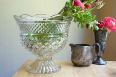 Vintage-Glass-Wexford bowl. I love this pattern it's  inexpensive, easy to find,  useful and soooo pretty!