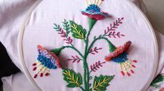 hand embroidery stitches. hand embroidery designs. 3d flower.