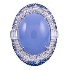 Colossal Contemporary Cabochon Chalcedony Sapphire Diamond Ring | 1stdibs.com