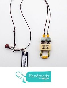 ART::WEAR Necklace by Cherie Lester, Vintage Mahjong, Grey-Blue, Yellow, Czech Crystal, Stone & Beads on Genuine Leather Cord. from ART::WEAR Necklaces by Cherie Lester https://www.amazon.com/dp/B01N350CKK/ref=hnd_sw_r_pi_dp_GutHyb386GBVX #handmadeatamazon