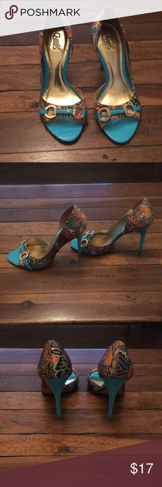 Carlos Santana open toed pumps Carlos by Carlos Santana open-toed, high heeled pumps. Size 6.5 heel tips still in good condition. Small stuff that can be fixed on right buckle area. Carlos Santana Shoes Heels