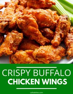 Crispy Buffalo Chicken Wings are not fried in oil but baked. Give this baked buffalo chicken recipe a try and let me know how you think it compares to other crispy wings. Try these wings and see for yourself how good they are. #wings #crispy #buffalo #chicken #easy #baked Baked Chicken Wings Buffalo, Crispy Baked Chicken Wings, Honey Chicken, Yummy Chicken Recipes, Easy Dinner Recipes, Dinner Ideas, Dessert Recipes, Hot Wings Recipe Fried, Best Comfort Food