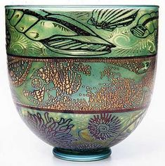 "Timothy Harris [Isle of Wight Glass]  ""Graal"" Bowl"