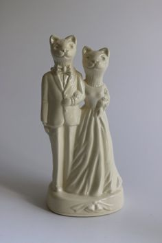 Cat Couple Wedding Cake Topper by MelaboWed on Etsy