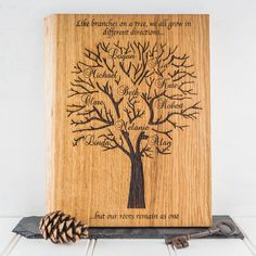 Oak Family Tree - Personalised Family Tree - Family Tree Art - Family Tree Chart - Family Gifts - Gift For Grandmother - Gift For Mum - Oak Family Tree Quotes, Family Tree Art, Wood Burning Stencils, Wood Burning Patterns, Roots Drawing, Reclaimed Wood Frames, Personalised Family Tree, Family Painting, Finger Painting