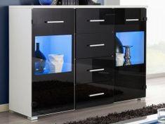 RENNO, komoda, bílá/černý lesk Komodo, Filing Cabinet, Storage, Furniture, Home Decor, Rennes, Purse Storage, Decoration Home, Room Decor