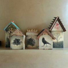 Wood with images assemblage houses.Spirit Houses by MikelRobinson Etsy Clay Houses, Ceramic Houses, Paper Houses, Miniature Houses, Bird Houses, Wooden Houses, Home Crafts, Fun Crafts, Arts And Crafts