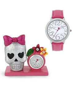 Betsey Johnson Watch and Clock Set, Women's Pink Leather Strap 39mm BJ00203-03 - All Watches - Jewelry & Watches - Macy's