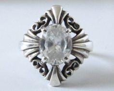 Vintage Old Estate Sterling Silver Kabana CZ Art Deco Style Ring Size 9-1/4 Vtg