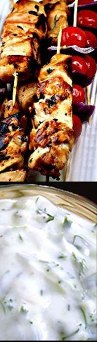 Lemon Garlic Chicken Skewers with Creamy Cucumber Greek Yogurt Dip