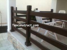 Balustrade din lemn pentru exterior  03 Deck Railings, Outdoor Furniture, Outdoor Decor, Corner Desk, Exterior, Home Decor, Balconies, Corner Table, Decoration Home