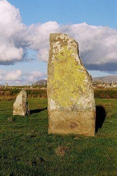 IRELAND - year old megalithic standing stone pair at Cross, Co. Mayo, Ireland, facing Atlantic and setting sun, Caher island and Inisturk // Souls & Stones Cairns, Ancient Ruins, Ancient Art, Irish Catholic, Soul Stone, Stonehenge, Prehistory, Antiquities, British Isles
