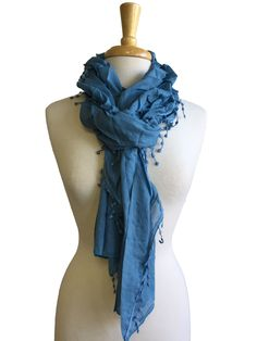 Crushed Solid Scarf in Placid Blue