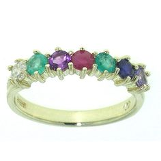 """9ct Gold """"Dearest"""" Ring Diamond Emerald Amethyst Ruby Emerald Sapphire Tanzanite  Free p&p - Precious Gem Collection - Gold Silver Rings, Quality jewellery jewelry Specialist in Opal Rings Emerald Rings Sapphire Rings, Tanzanite Rings LetsBuyGold Jewellers"""