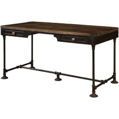 Jadu Accents Industrial-Inspired Accent Desk with Two Drawers & Rustic Wooden Tabletop by Coast to Coast Imports